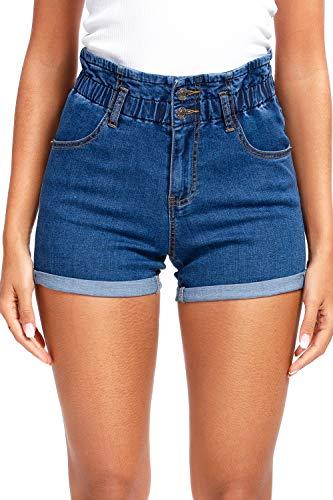 Hocaies Damen Jeansshorts Paperbag Jeans elastische hohe Taille Hotpants Shorts gefaltete Kante Kurze Hosen aus Denim für den Damen High Waist Denim Kurze, Dunkel Blau, 36(28W)
