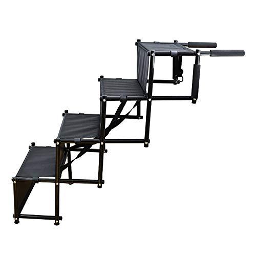 Rampas Ligeras De Aluminio Plegables para Mascotas, Escaleras Portátiles para Perros, Escalera De Acordeón para Mascotas De 4 Escalones con Superficie Impermeable Antideslizante
