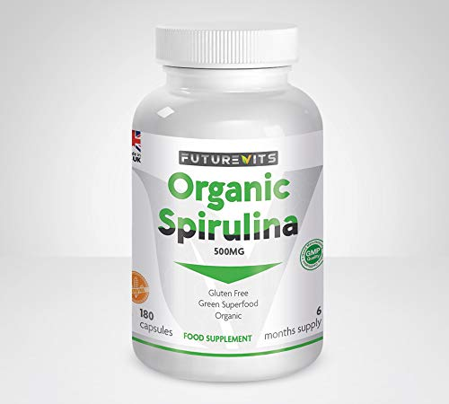 Organic Spirulina 500mg Capsules High in Amino Acids, Vitamin B12, Magnesium, Protein, Iron and Calcium Made in UK Futurevits