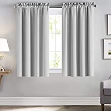 downluxe Blackout Lined Curtains Greyish White - 3 Thick Layers Completely Blackout Rod Pocket Window Treatment Thermal Insulated Drapes for Kitchen (1 Pair, 52 x 63 Inches,Greyish White)