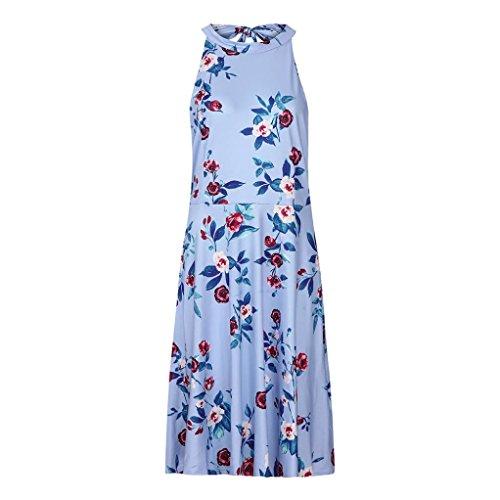 SUCES Damen Dress Frauen Sexy Gedruckt Kleid Strandkleid Midikleid Nackenträger Trägerlos Sommerkleid Elegant Erfrischend Abendkleid Partykleid Maxikleid Dress Rüschen Cocktailkleid (Blau,XL)