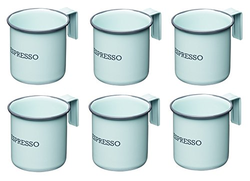 KitchenCraft Living Nostalgia - Set di 6 tazzine da caffè smaltate, 75 ml, colore: Blu