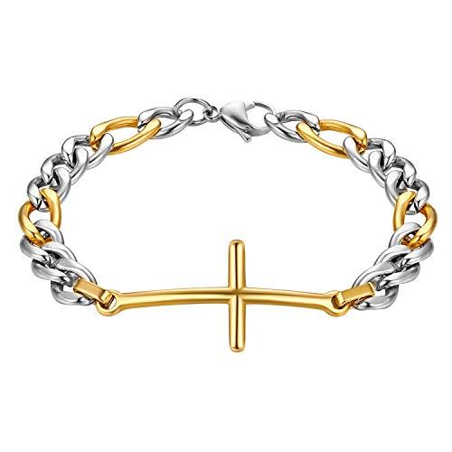 Flongo - Pulsera de acero inoxidable para hombre, diseño de cruz, color dorado