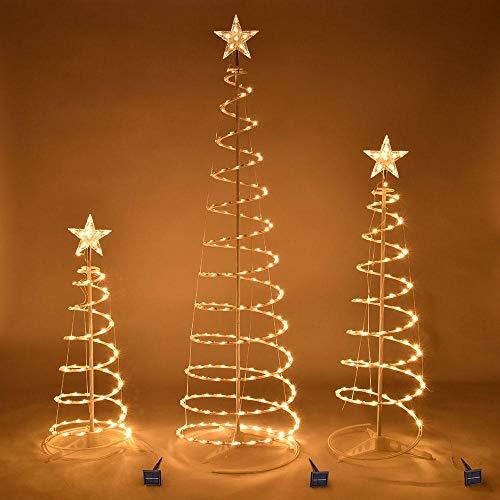 Outside Christmas Tree - Spiral Christmas Tree with star - Christmas Decorations For Outside - Set Of 3 Led Christmas Spiral Light Kit 6ft 4ft 3ft - Operated Christmas Decorations Outdoor (Warm White)