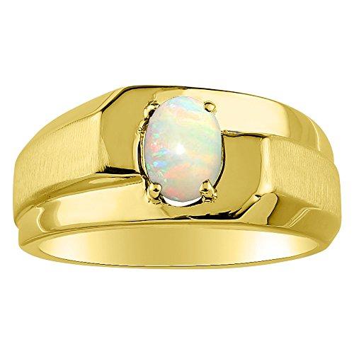 RYLOS Anillos para hombre de oro amarillo de 14 quilates, anillo de ópalo solitario de 7 x 5 mm, piedra de color para hombre, joyería de oro