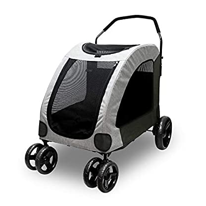 Dog Stroller For Large Pet Jogger Stroller For 2 Dogs Breathable Animal Stroller With 4 Wheel And Storage Space Pet Can Easily Walk In/Out Travel Up To 120 Lbs(55kg) 1