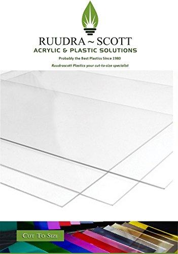RuudraScott - Lámina de plástico acrílico metacrilato transparente (2 mm, tamaño personalizable), acrílico, transparente, 297mmx210mm