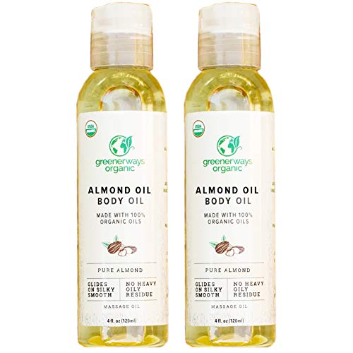 Greenerways Organic Almond Body Oil - Improves Complexion - Skin Moisturizing Oil for Glowing Skin - USDA Certified Oil - Promotes Healthy Looking Skin - Helps to Fade Scars - Pack of 2