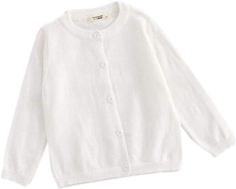 FEESON 100% Cotton Knit Crew Neck Solid Button Down Cardigan Sweater for Children