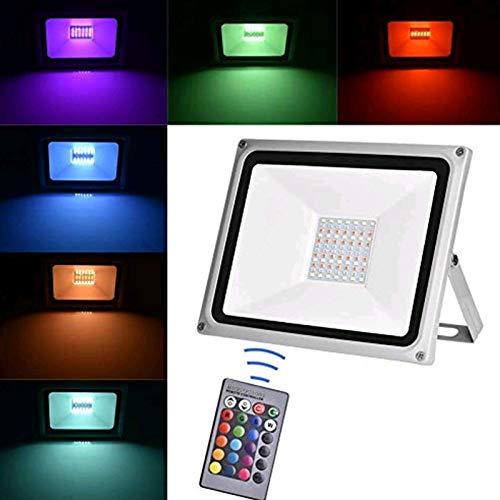 Viugreum 100W Faretto LED RGB Esterno, Proiettore IP65 Impermeabile 4 Modalità 16 LED Colorati con Telecomando, Faro per Decorazione Festiva di Natale, Halloween, Giardino Faretto LED da Esterno
