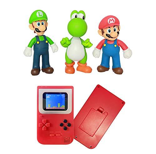 (3 Pieces / Set of 5-inch Super Mario Bros + 1 Handheld Game Machine). Mario, Luigi, Yoshi PVC Action Doll Toys and 1 Children's Game Machine