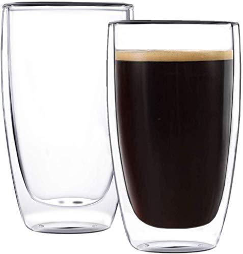 UMIGAL Doppelwandige Gläser Borosilikatglas - Für Tee, Kaffee, Latte, Cappuccino Gläser Kaffee Gläserset / Tee Doppelwandiges Café Crème- Glas Set 2 - 450ml (450ML)