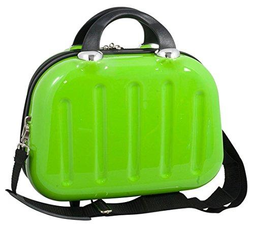 Polycarbonat Hartschalen Koffer Trolley Reisekoffer Reisetrolley Handgepäck Boardcase Beautycase Mauritius (Größe S (Beautycase), Farbe Grün)