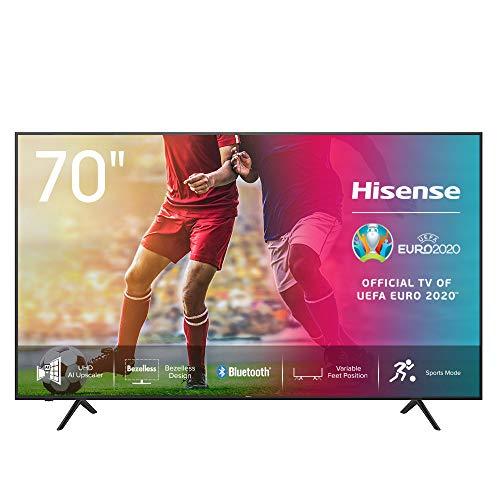 Hisense 70AE7000F 178 cm (70 Zoll) Fernseher (4K Ultra HD, HDR, Triple Tuner DVB-C/S/S2/T/T2, Smart-TV, Frameless, Bluetooth, Alexa, verstellbare Standfüße)