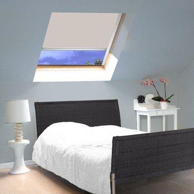 madecostore Dachrollo mit Aufrollmechanismus, kompatibel mit Velux® – Beige – L 64 x H 74 cm Modell M04 – Aluminiumrahmen