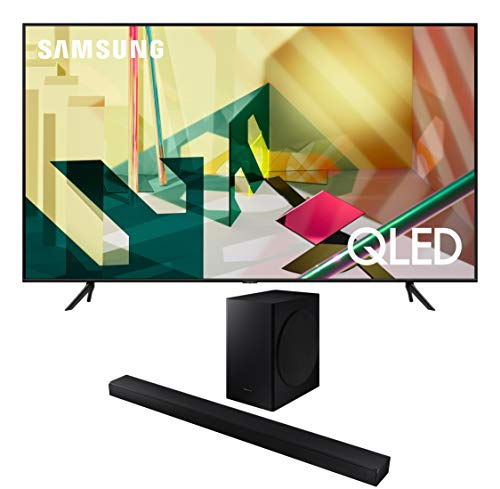 Samsung QN75Q70TA 75' Ultra High Definition Smart 4K QLED Quantum HDR TV with a Samsung HW-T650 Bluetooth Soundbar with Dolby Audio Wireless Subwoofer (2020)