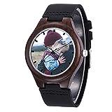 EKMON Orologio in legno Personalizzato per Uomo, con Qualsiasi Foto o Testo/Cinturino in Vera Pelle