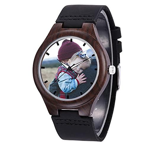 EKMON Reloj de Madera Personalizado para Hombres, Ualquier Foto o Texto / Correa de Cuero Genuino