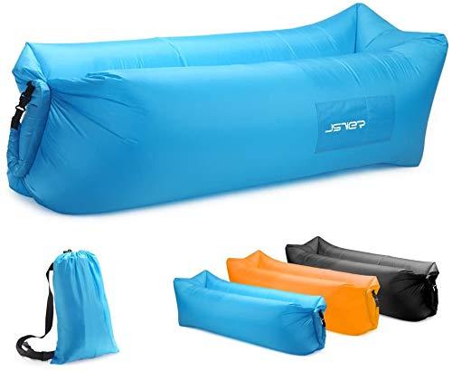 Aufblasbares Sofa, Tragbares Aufblasbarer wasserdichtes Lounger Schlafsack integriertem Seitentaschen Air Sofa Kissen Gartenfreizeitschlafsack-kampierender Outdoor für Camping Wander, Schwimmbad