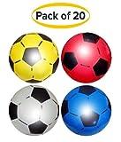 (Pack de 20) Fútbol PVC deportivo Shoot 22,5 cm o 8,5 '(vacío) para fiestas y juguetes infantiles. Apto para interior y exterior - colores surtidos.