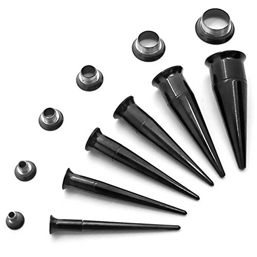 Tumundo® Dehner 1 Stk oder 1 Set Dehnstab Expander Flesh Tunnel 2in1 Taper Double Flared Piercing Plug Schwarz Silberfarben Ohr, Farbe:schwarz - Set 3-10mm