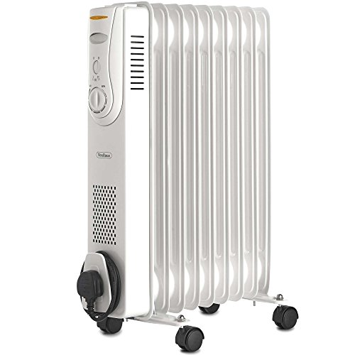 VonHaus Oil Filled Radiator – 2000W/2KW – 9 Fin – Freestanding – Plug in Portable Electric Heater – 3 Power Settings, Adjustable Temperature/Thermostat, Thermal Safety Cut off – White