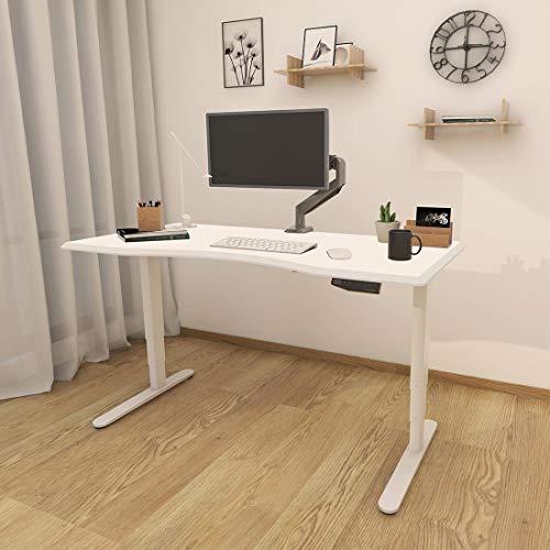 Flexispot Höhenverstellbarer Elektrisch höhenverstellbares Tischgestell, 3-Fach-Teleskop, passt für alle gängigen Tischplatten. Mit Memory-Steuerung und Softstart/-Stop (Weiß)