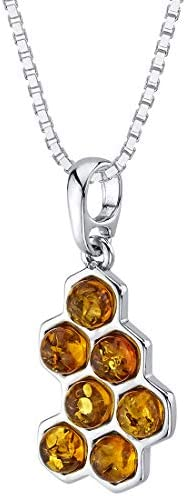 Peora Genuine Baltic Amber Honeycomb Pendant Necklace in Sterling Silver Rich Cognac Color with product image