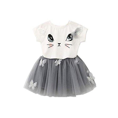 Covermason Niñas Gato Patrón Camisa y Mariposa Tutú Falda (1 Conjunto) (5Años, Blanco)