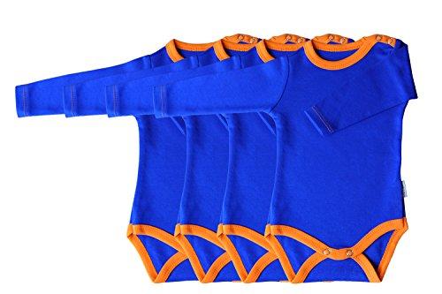 Princess Taufkleid Strampler Langarm 4er Pack blau/orange Grösse 56 Unisex 100% Baumwolle