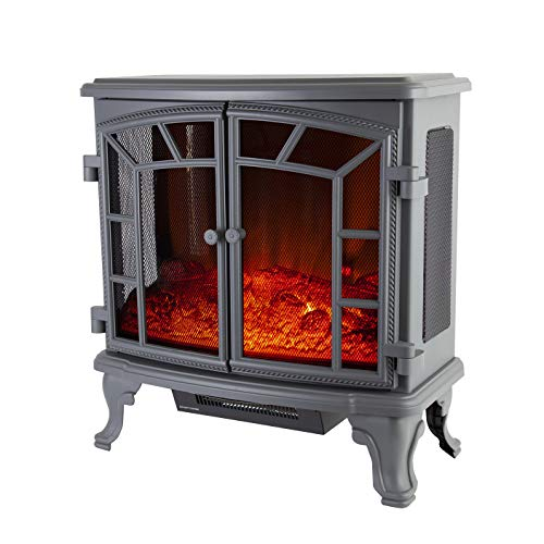 Warmlite Rochester Portable Electric Double Door Fireplace Heater with Realistic LED Flame Effect, Remote Control, Overheat Protection, 2000 W, Crème