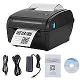MATHOWAL Impresora Térmica, Impresora Térmica de Etiquetas de Escritorio 110mm, Impresora Térmica de Etiquetas de Envío USB, Velocidad de Impresión 160mm/Sec, para Etiquetas de Transporte 4x6(Negro)