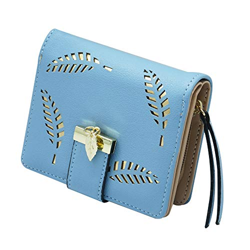 Molylove Women's Short Wallet Hollow Leaf Pattern Bifold Leather Lady...
