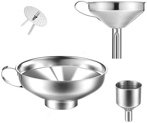 JUYILSU Prämie Edelstahl-Trichter, 3 Stück Edelstahl Trichter Strainer Filter Set,Praktisches Trichter Set für die Übertragung von flüssigen Zutaten