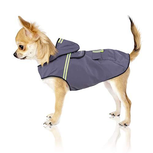 Bella & Balu Hunderegenmantel – Wasserdichter Hundemantel mit Kapuze und Reflektoren für trockene, sichere Gassigänge, den Hundespielplatz und den Urlaub mit Hund (XS | Grau)