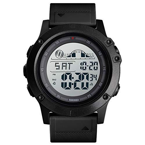 TONSHEN Hombre Deportivo Reloj de Pulsera LED Electrónica Doble Tiempo 50M Impermeable Multifuncional Outdoor Militares Digitales Relojes Alarma Cronómetro (Negro)