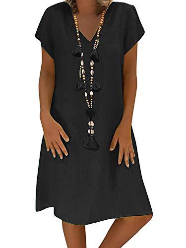 Vestido De Lino De Las Mujeres Verano con Cuello En V Vestido De Playa Boho Color Sólido Vestido De Una Línea hasta La Rodilla Sueltos Ocasionales De La Camiseta