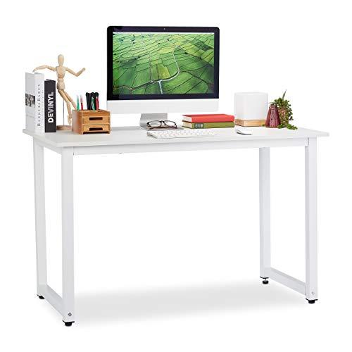Relaxdays Schreibtisch, Homeoffice & Jugendzimmer, modernes Design, Bürotisch HBT: 76 x 120 x 60 cm, MDF & Metall, weiß