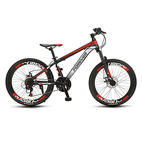 HEZHANG Bicicletas de Montaña, Bicicletas de 24 Velocidades para Adolescentes con Frenos de Disco Mecánicos Delanteros Y Traseros, para Niños Y Niñas de 140-170Cm,Rojo