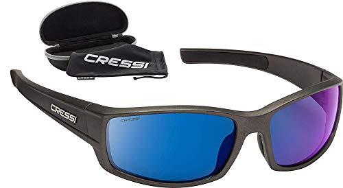 Cressi Hunter Sunglasses Gafas de Sol Deportivo, Adultos Unisex, Negro/Lentes Espejadas Azul, Talla única