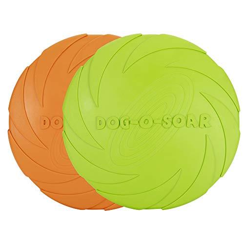 Vivifying Hundefrisbee, 2 Stück 18cm Hunde-Frisbee aus Natürlichem Kautschuk für Land und Wasser (Grün + Orange)