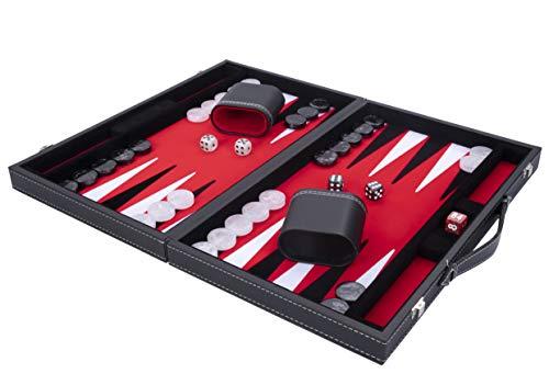 Engelhart - Backgammon di lusso 38 cm -Materiali di alta qualità -Pelle similpelle, intarsio speciale in feltro - dadi e gettoni perlati + 2 tazze - P