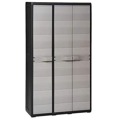 Ausla Armario escobero con 4 estantes, 3 puertas y 4 estantes ajustables ventilados, bloqueable (no incluye candado), 97 x 38 x 171 cm