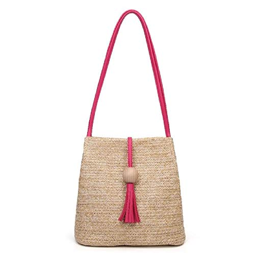 Women Straw Bag Rattan Beach Handbag Handmade Knitted Crossbody Bucket Bags Tassel Beach Bag