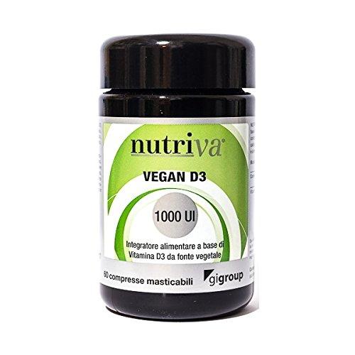 egan D3 Naturale 1000 UI 60 compresse masticabili Integratore di Vitamina D Adatto a Vegani e Vegetariani Nutriva