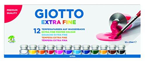 Giotto Tempera fine, Colori Assortiti, 12 x 21ml, unità