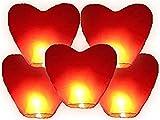 Alittle Linterna de cielo de 5 piezas Linterna china Globo de aire caliente de vuelo chino para boda en forma de corazón rojo