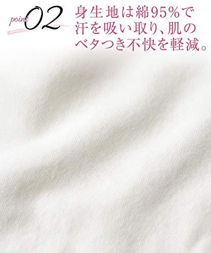 [nissen(ニッセン)]インナー肌着セット2枚組汗取りパッド付長袖8分袖綿混滝汗さんレディース黒+ベージュM