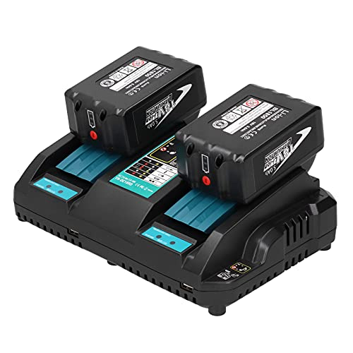 Cargador de batería para Makita, cargador de 2 puertos para Makita Single-Cell Balance a USB Interface Protection Board 100-240 V para BL1815 para BL1840 (transparente)