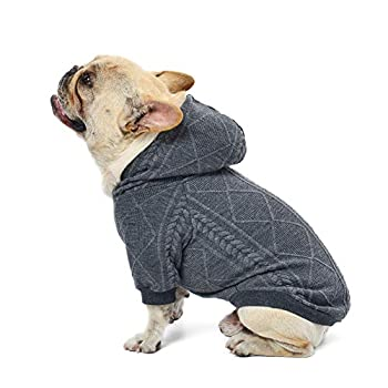 meioro Pull pour Chien Vêtements pour Chiens Chauds Sweats à Capuch Joli Manteau d'hiver Adapté aux Chiens de Petite et Moyenne Taille French Bulldog Pug(Gris,XXL)